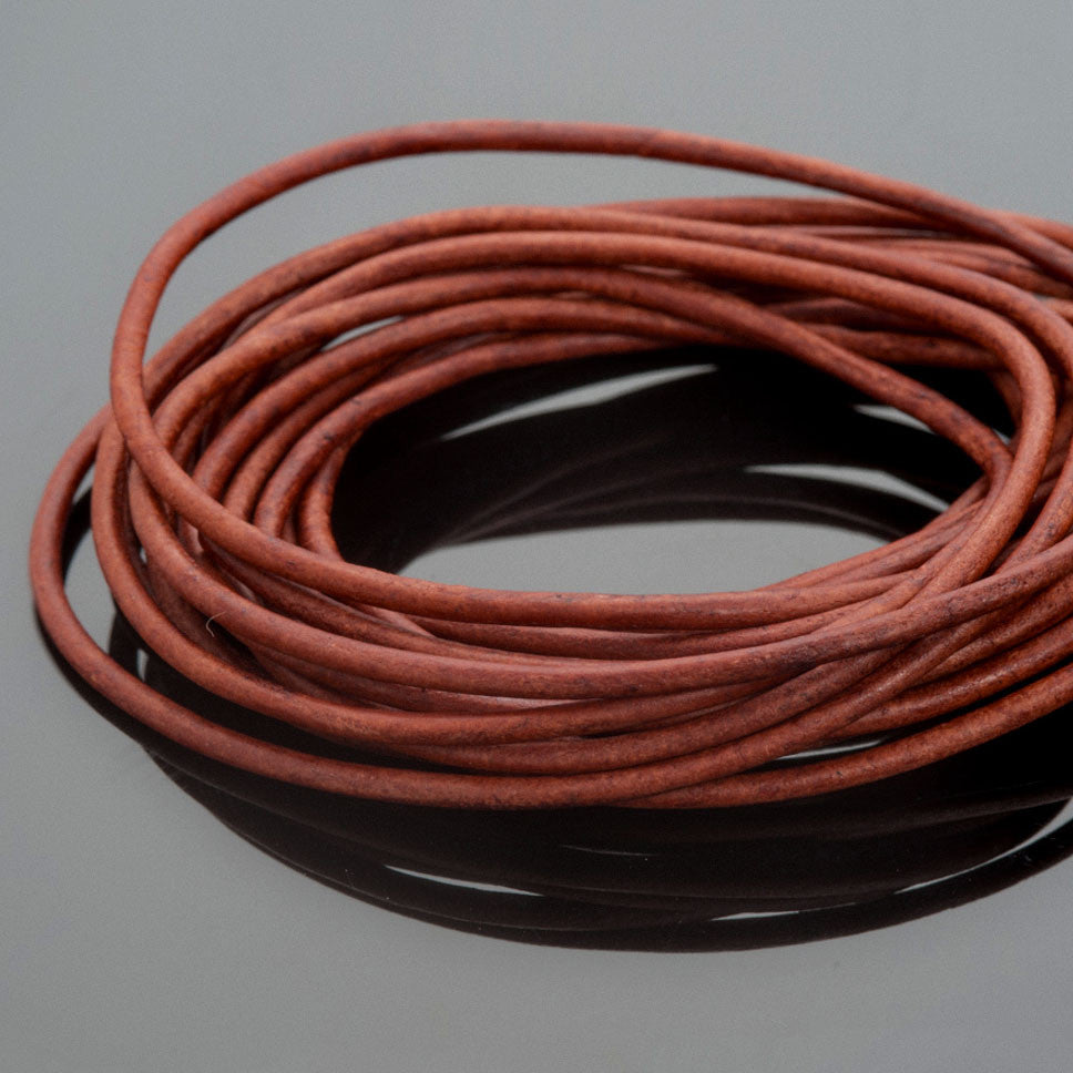 1mm Round leather cord in Natural red brown, 10 Feet