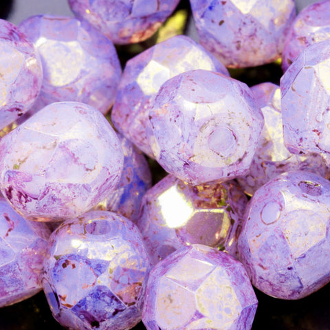 25 Pink and Purple Opal Thistle Luster 6mm Czech firepolished rounds