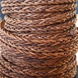 CLEARANCE 4mm Woven square natural light brown leather cord, 1 Foot