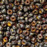 6/0 Yellow heart brown red stripe 2.6 x 4mm Czech seed beads, 15 grams