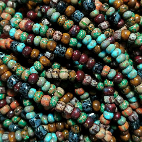 21 Inches 6/0 Aged turquoise brown striped tube Picasso mix, 195 beads