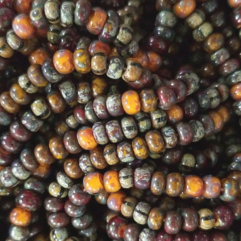 20 Inches 6/0 Aged yellow red multi striped Picasso mix, 170 beads
