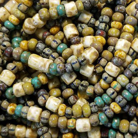 20 inches 6/0 aged green turquoise Picasso seed beads and tubes, 170 beads