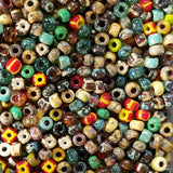 6/0 Loose Custom multicolor with stripes Czech Picasso seed bead mix, 25 grams