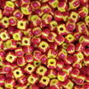 25 Grams, 5/0 Loose Vibrant red and yellow stripe Czech seed bead mix