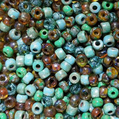 6/0 Loose Custom Green turquoise Czech Picasso seed bead mix, 25 grams