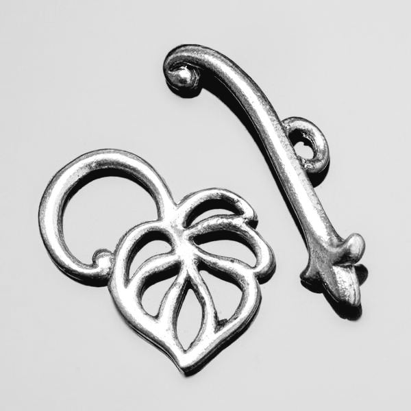 CLEARANCE Pewter Leaf toggle clasp, 17 x 22mm