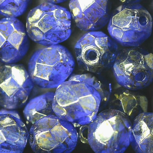 25 Indigo and Grape Gold Luster Czech Firepolished Round Beads, 6mm