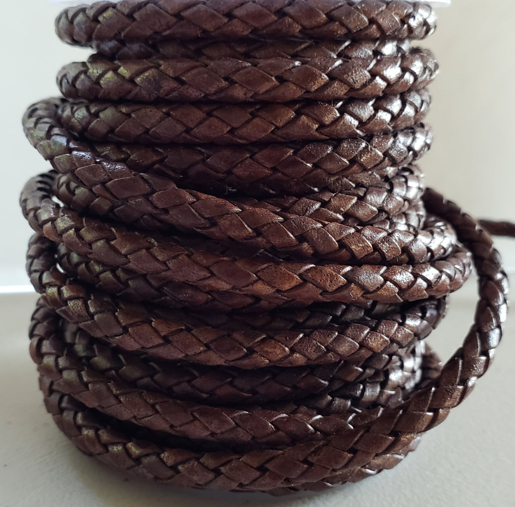 3 Feet 5mm Round Indian Leather Woven Bolo Cord, Natural Dark Brown