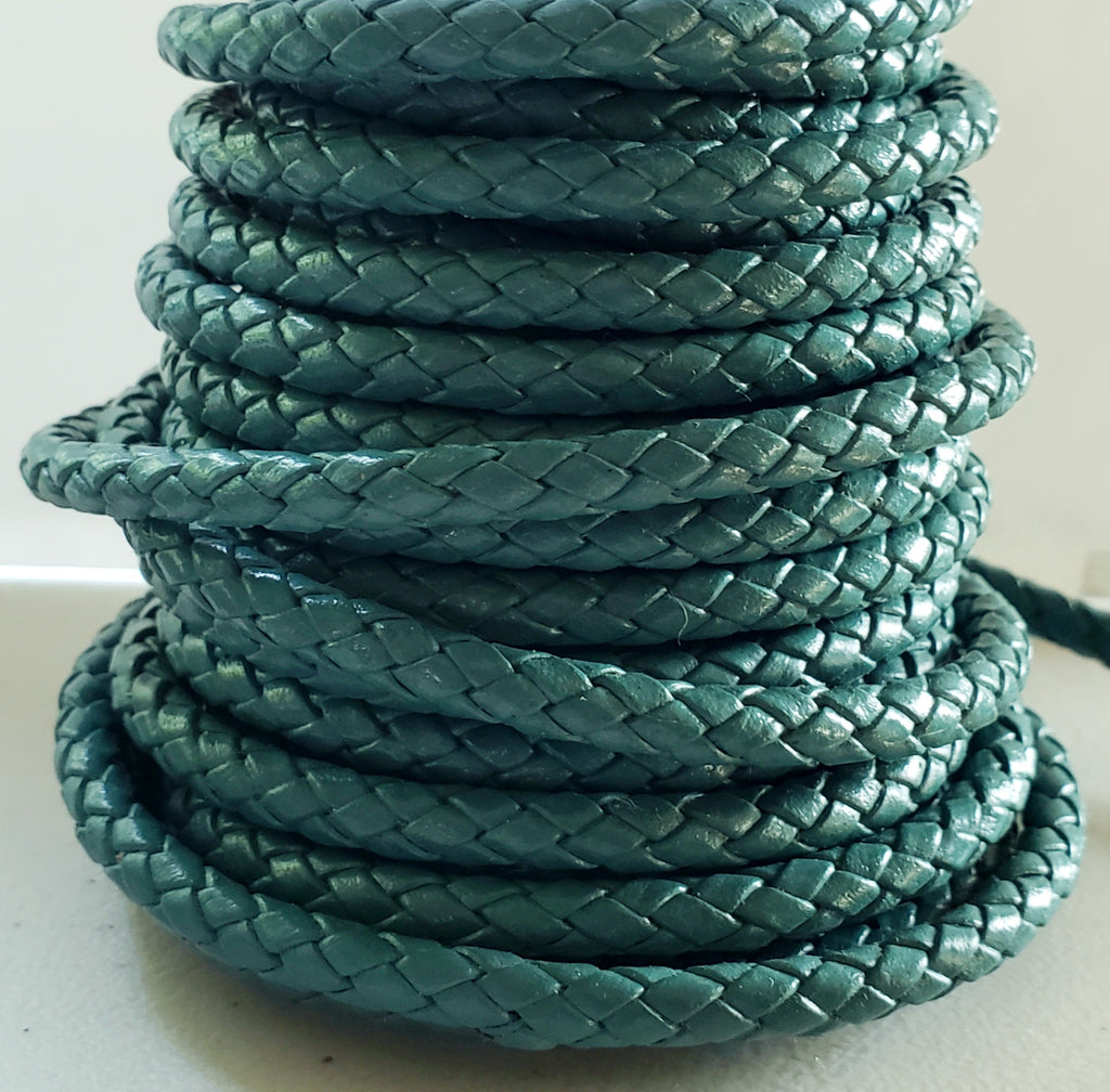 3 Feet 5mm Round Indian Leather Woven Bolo Cord, Turquoise