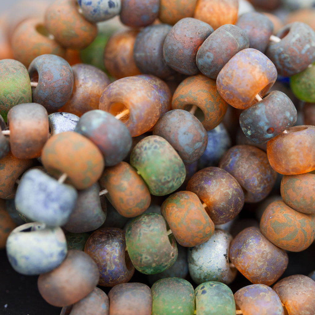 15 Beads, 34/0 Aged Rustic Rainbow Picasso Beads, 6 x 8mm, 3mm Hole