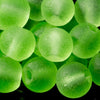 One Strand of 48 Cultured Faux Sea Glass Round Beads, Peridot, 4mm