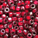 6/0 Faceted 3-Cut Coral Red Picasso and Dark Travertine mix seed beads, 10 grams
