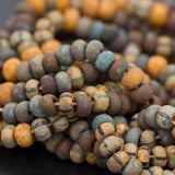 10 Inches 4/0 Aged Rustic Bermuda Picasso Striped mix, 90 Beads