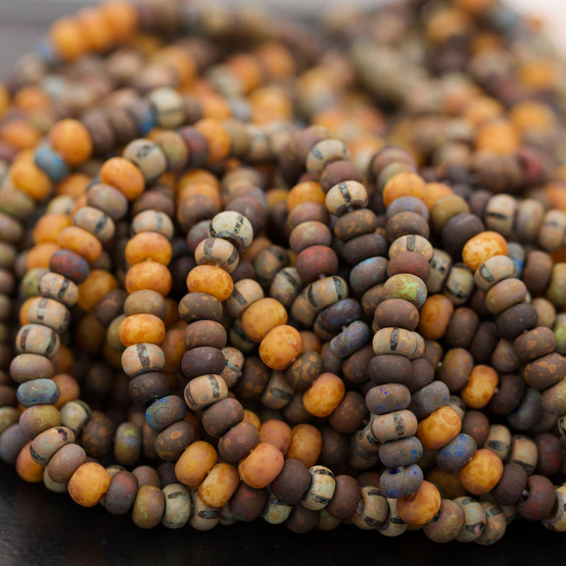 8.75 Inches 4/0 Aged Rustic Stripe Picasso Seed Bead Mix, 3 x 5mm, 73 Beads