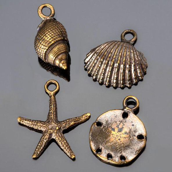 4 PC Cast Antique Brass Sea Shell Charm Mix, 20 - 25mm, Hole 2mm