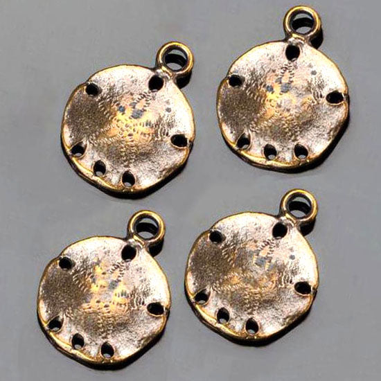 4 Antique brass cast sand dollar charms, 18 x 22mm, Hole 2.5mm