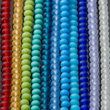 One Strand of 65, Cultured Faux Sea Glass Rondelle Beads, Royal Blue, 4 x 3mm