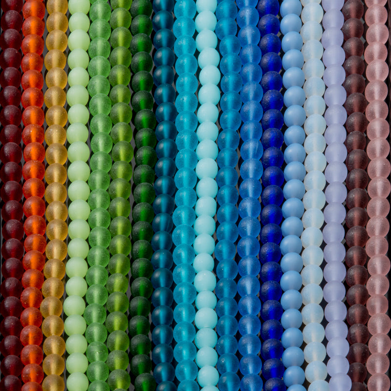 One Strand of 32 Cultured Faux Sea Glass Round Beads, Light Sapphire, 6mm
