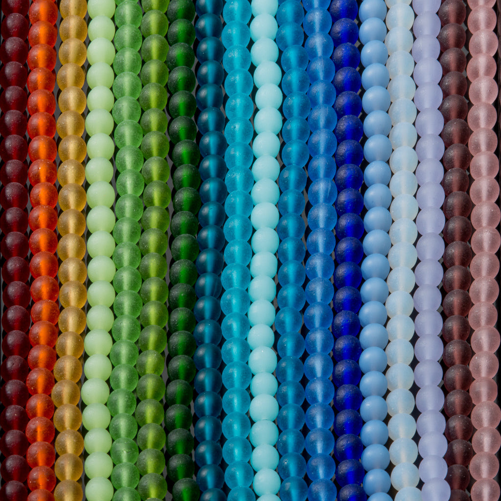 One Strand of 32 Cultured Faux Sea Glass Round Beads, Tangerine, 6mm