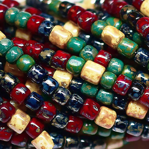 10 inches 6/0 Aged metallic Picasso tube bead mix, 65 beads, up to 5mm