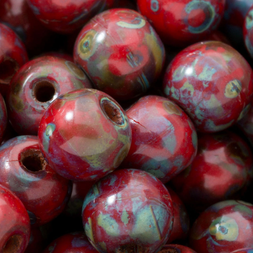 50 Russet red and Picasso 6mm Czech glass round beads