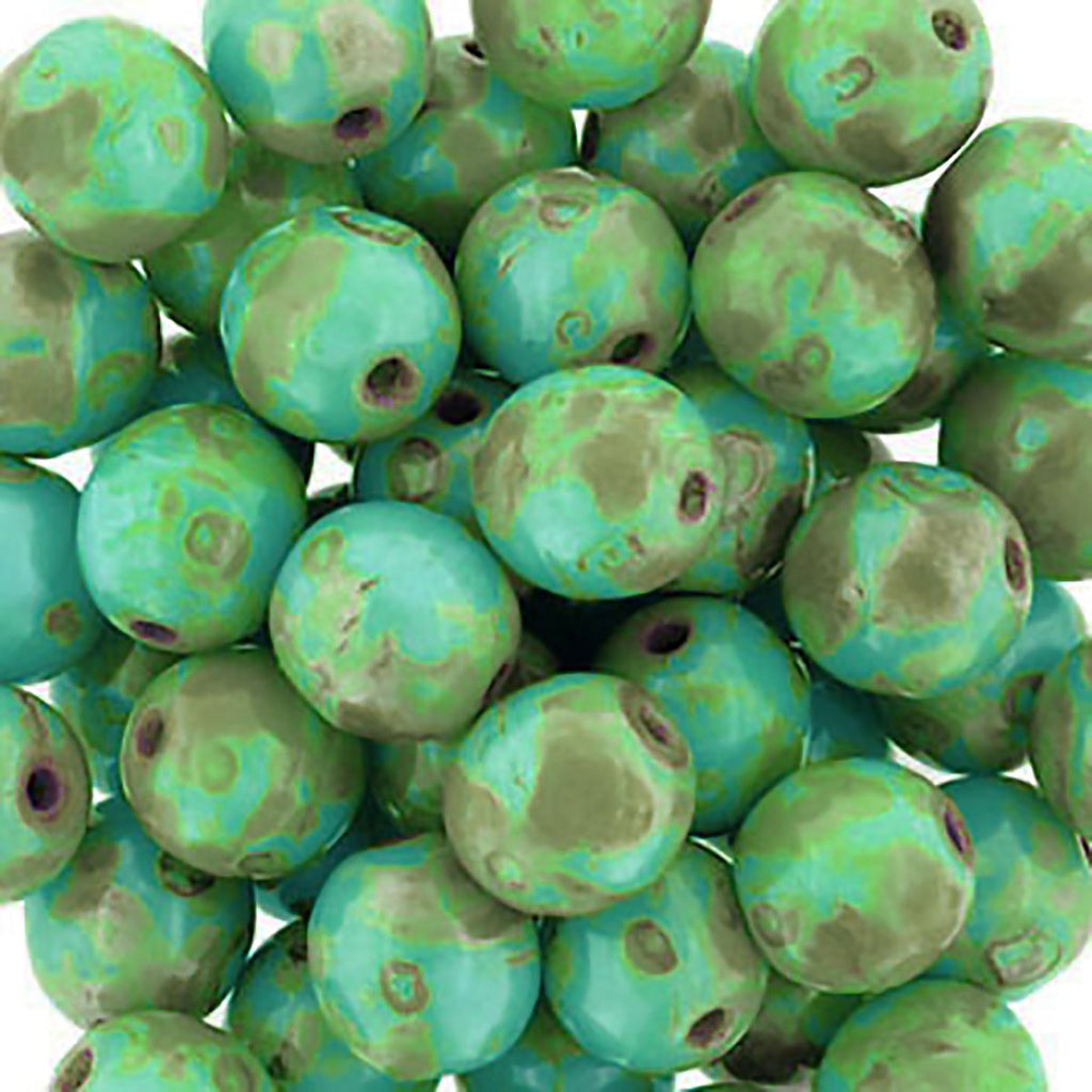CLEARANCE 50 Turquoise Picasso 6mm Czech glass round beads