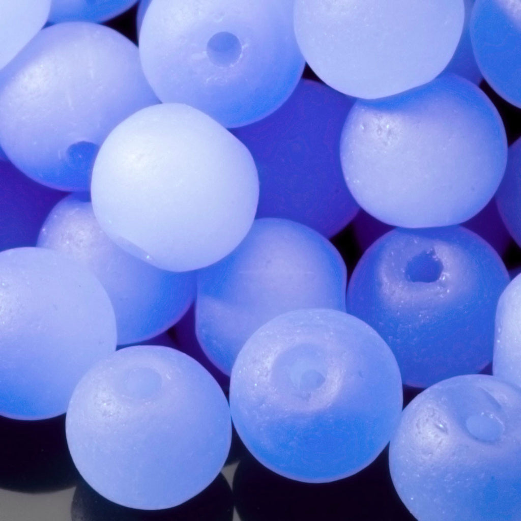 3 Strands of 48 Cultured Faux Sea Glass Round Beads, Opaque Sky Blue, 4mm