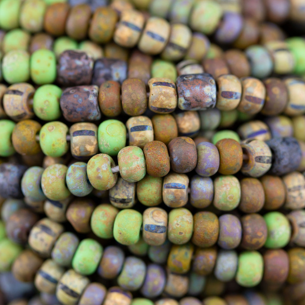 Choose 10.5 or 21 Inches, 6/0 Aged Rustic Chameleon Tube Picasso Seed Beads, 3 x 4mm