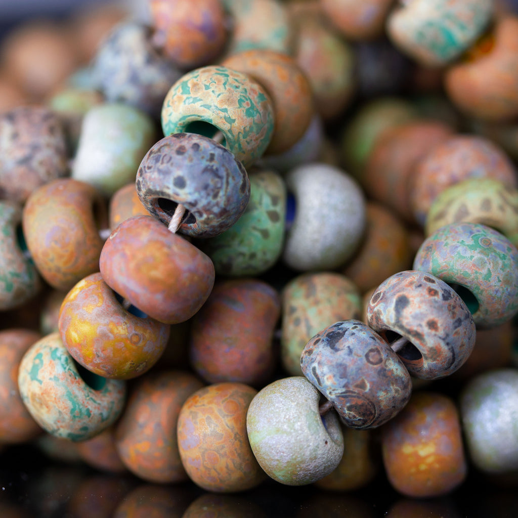 4 Inches, Large 34/0 Aged Rustic Jaded Picasso Bead Mix, 8.5mm, ~18 Beads