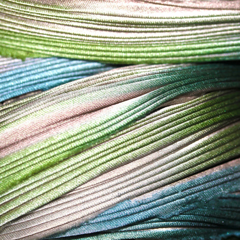 CLEARANCE Silk Shibori ribbon, Beach Glass, by the yard or foot