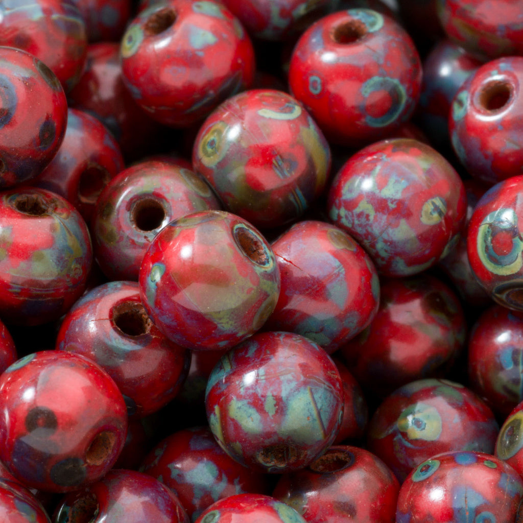 50 Red Picasso Czech glass round druk beads, 4mm