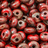 100 Red Picasso Czech rondelle spacer beads, 4mm
