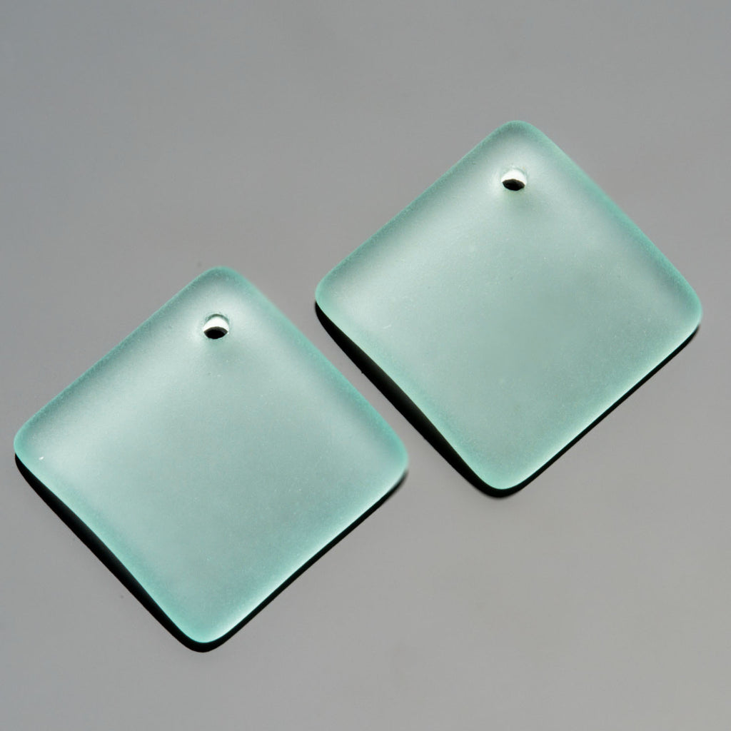 2 Cultured Faux Sea Glass Bottle Curved Square Diamond Pendants, Light Aqua, 18mm