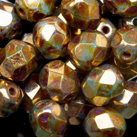 25 Translucent green with metallic golden bronze Picasso 6mm Czech firepolished rounds