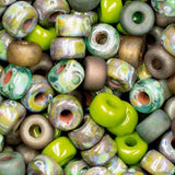 20 Grams 2/0 Custom Matubo Green Metallic and Matte Picasso Bead Mix, 4 x 6mm