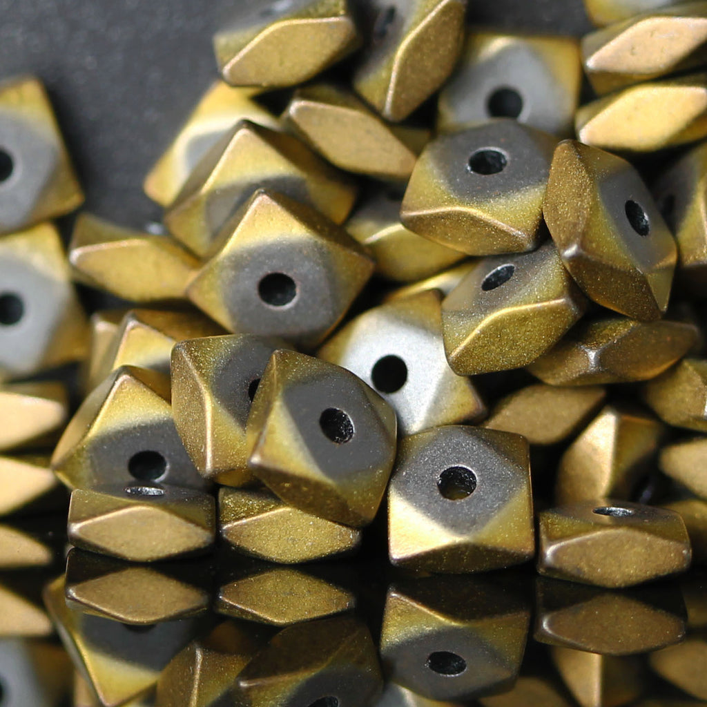 7.5 Inches Frosted Non-Magnetic Electroplated Square Pillow Gold Hematite Metal Beads, 4.4 x 2mm