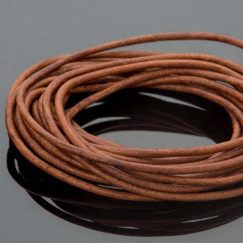 1mm Round leather cord in Natural light brown, 10 Feet