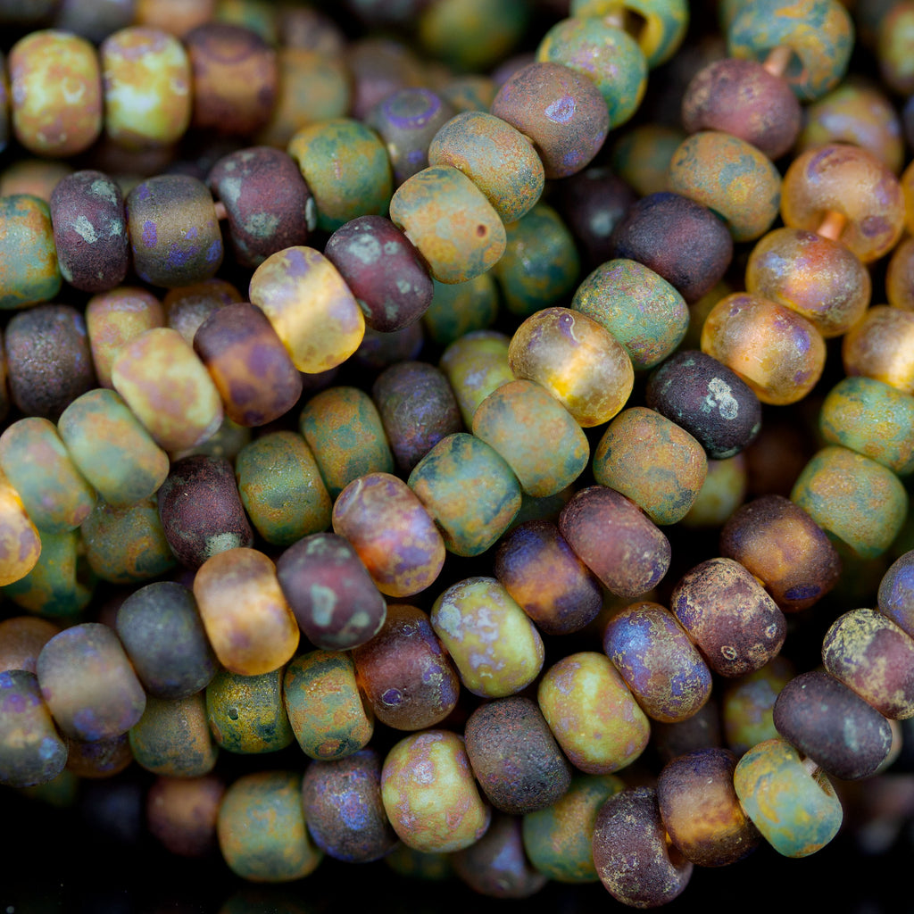 Choose 10 or 20 Inches, 6/0 Aged Matted Rainbow Picasso Seed Bead mix, 3 x 4mm