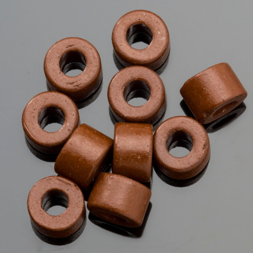 30 Milk Chocolate Greek ceramic mini tube beads, 6 x 4mm, 2.5mm hole
