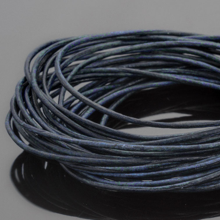 0.5 Round leather cord in Natural Pacific Blue, 10 Feet
