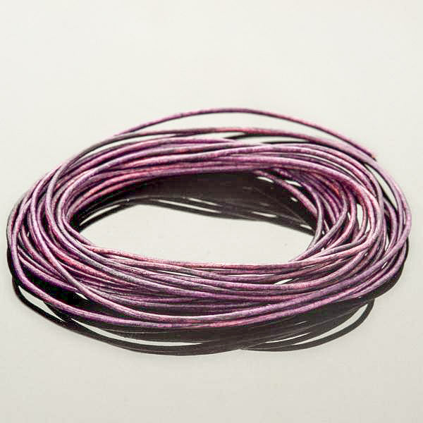 0.5mm round leather cord Natural Violet, 10 Feet