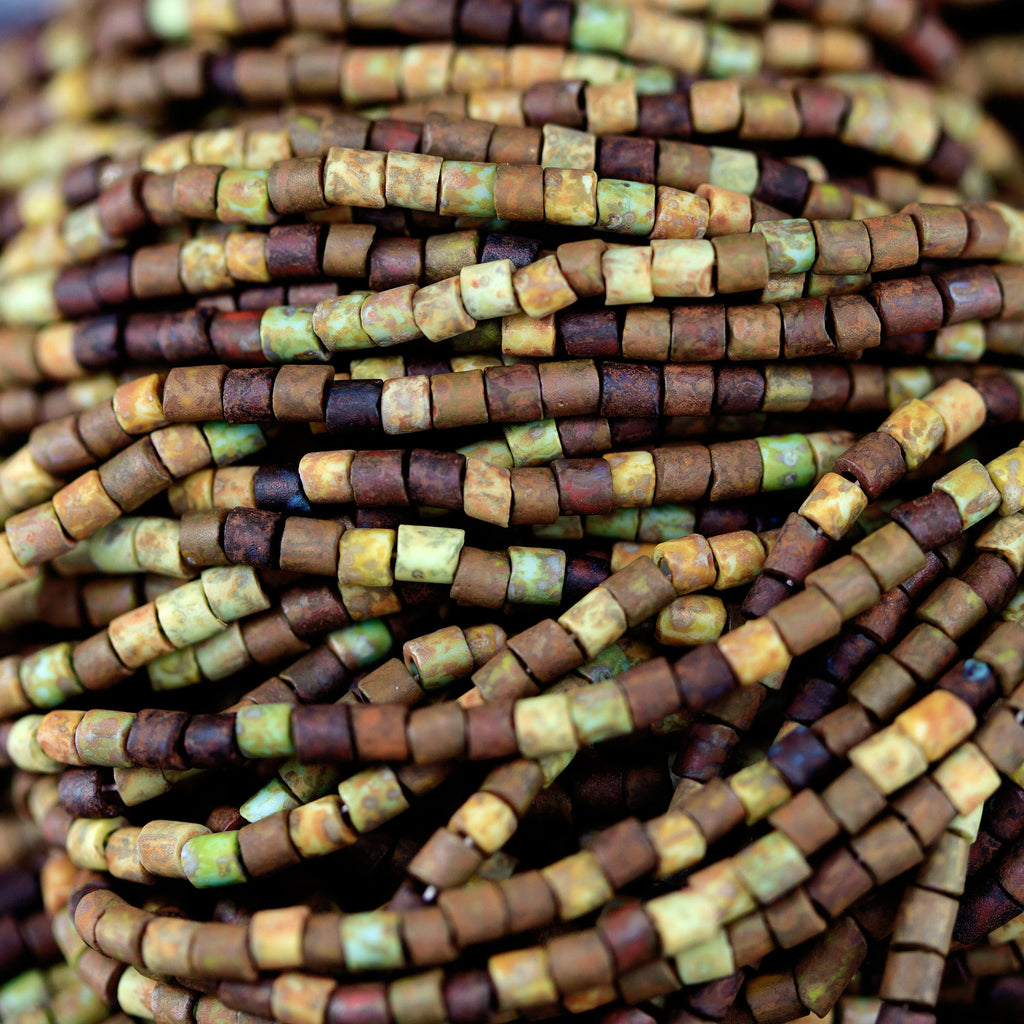 "Choose (4)or (8) 22 Inch Strands Size #0.5"" Aged Rustic Picasso Bugle Seed Beads, 1.8mm"