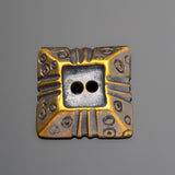 One cast antique brass pyramid square button, 20 x 5mm, 2mm holes
