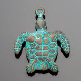 Green patina cast Sea turtle pendant, 37 x 30mm