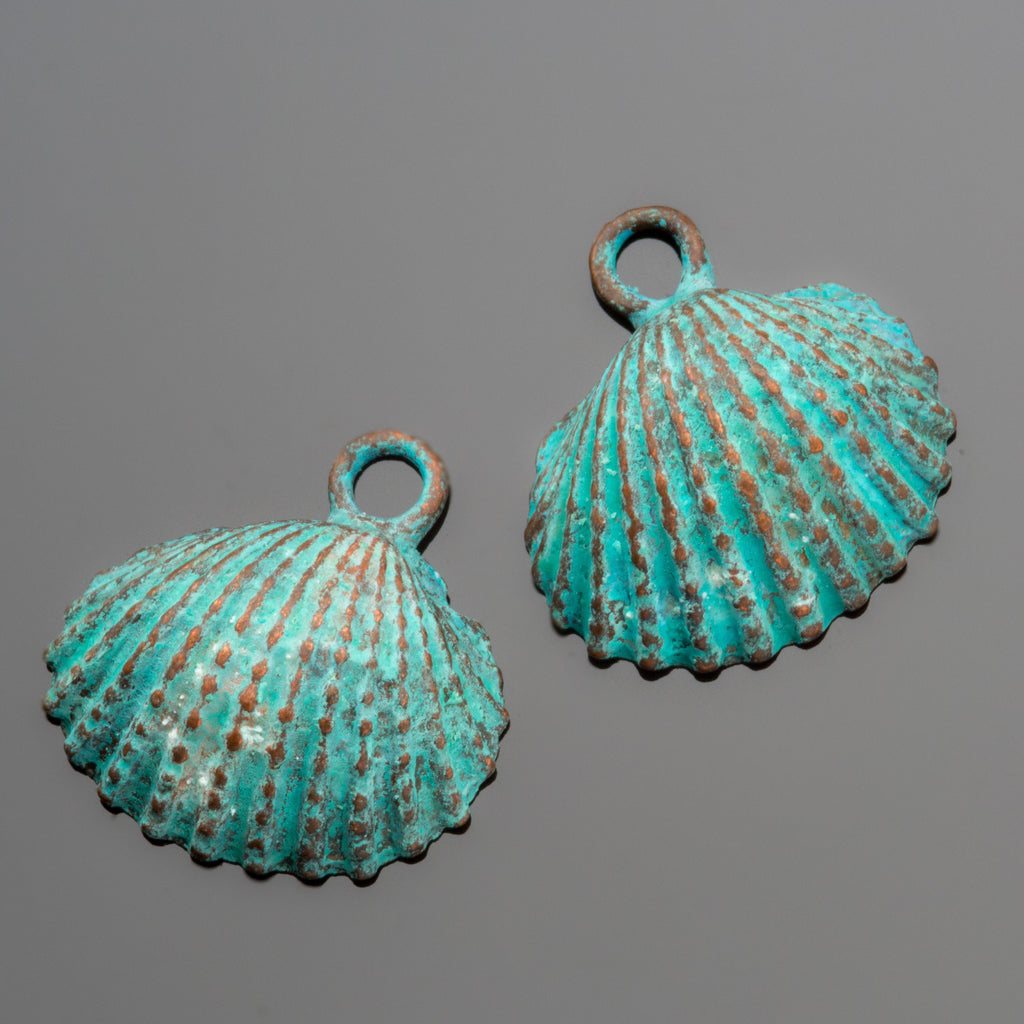 2 Green patina cast large clam shell charms, 20 x 20mm