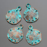 4 Green patina cast sand dollar charms, 18 x 22mm