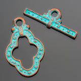 Large Green patina Guinevere toggle clasp, 31 x 30mm