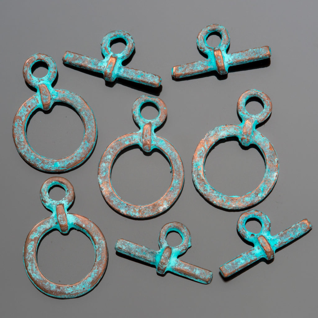 4 Small cast green patina toggle clasps, 18mm
