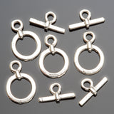 4 Small bright fine silver cast toggle clasps, 18mm